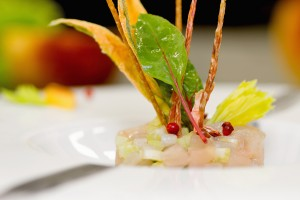 tartare with lampuga fish, celery and food garnish